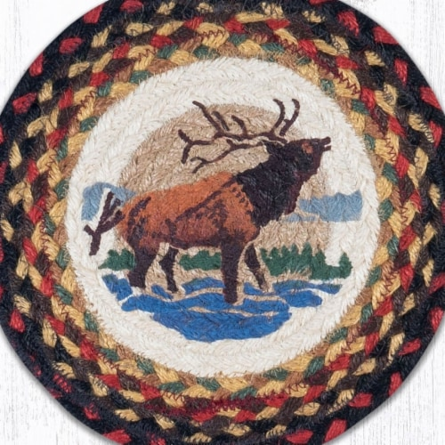 Capitol Importing 10 in. Jute Round Winter Elk Printed Trivet Perspective: front