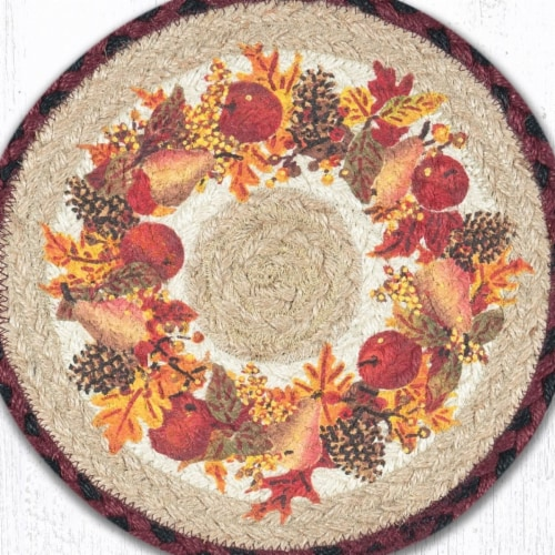 Capitol Importing 80-431AW 10 x 10 in. Jute Round Autumn Wreath Printed Trivet Perspective: front