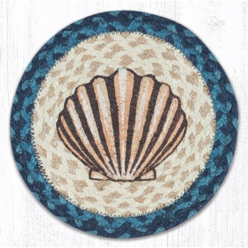 Capitol Importing 80-362S 10 in. Jute Round Scallop Printed Trivet Perspective: front