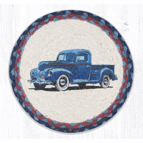 Capitol Importing 80-362BT 10 x 10 in. MSPR-362 Blue Truck Printed Round Trivet Perspective: front