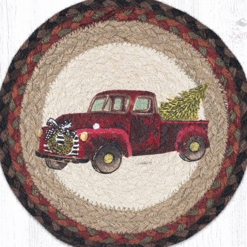 Capitol Importing 10 x 10 in. Christmas Truck Printed Round Trivet Perspective: front