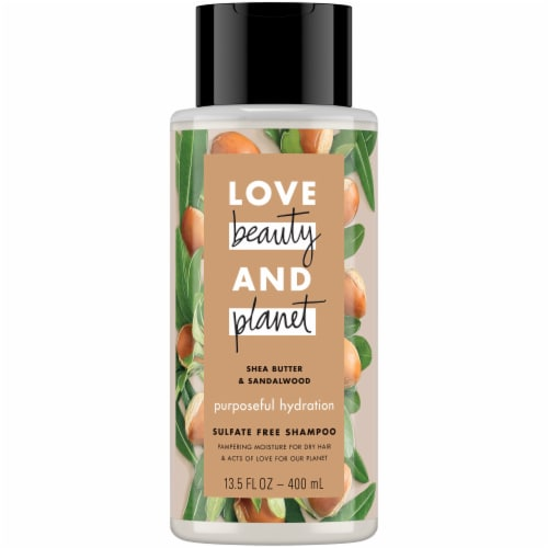 Love Beauty and Planet Shea Butter & Sandalwood Purposeful Hydration Shampoo Perspective: front