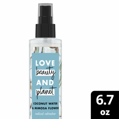 Love Beauty and Planet Radical Refresher Coconut Water & Mimosa Flower Showerless Cleansing Mist Perspective: front