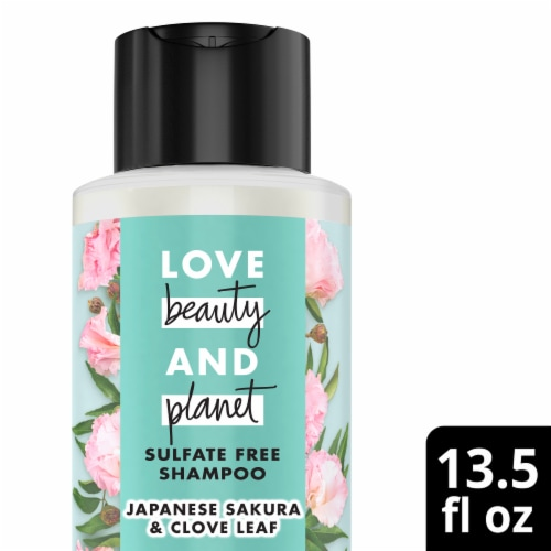 Love Beauty and Planet Indian Lilac & Clove Leaf Positively Shiny Shampoo Perspective: front