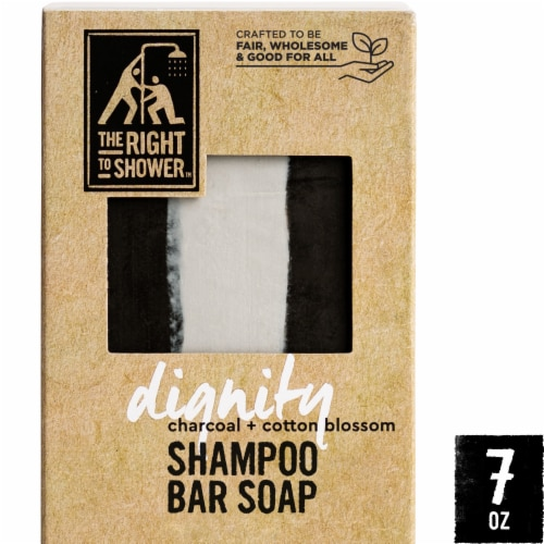 The Right To Shower Dignity Charcoal + Cotton Blossom Shampoo Bar & Bar Soap Perspective: front