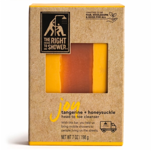 The Right To Shower Joy Tangerine & Honeysuckle Shampoo Bar & Bar Soap Perspective: front