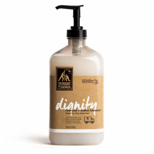 The Right To Shower Dignity Charcoal + Cotton Blossom Body Wash Perspective: front