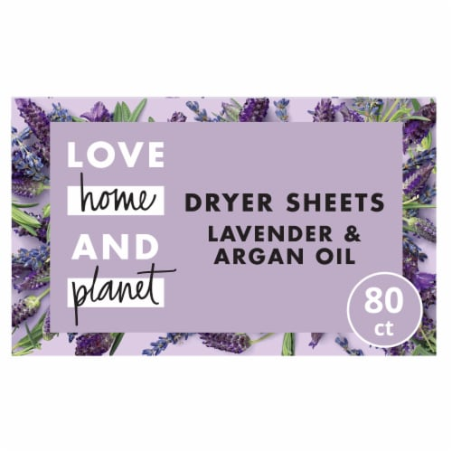 Love Home & Planet Lavender & Argan Oil Dryer Sheets 80 Count Perspective: front