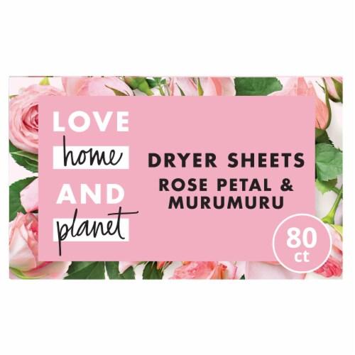 Love Home & Planet Rose Petal & Murumuru Dryer Sheets Perspective: front