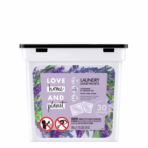 Love Home & Planet Lavender & Argan Oil Laundry Liquid Packets Perspective: front