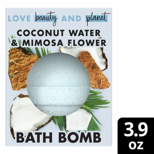 Love Beauty and Planet Coconut Water & Mimosa Flower Bath Bomb Perspective: front