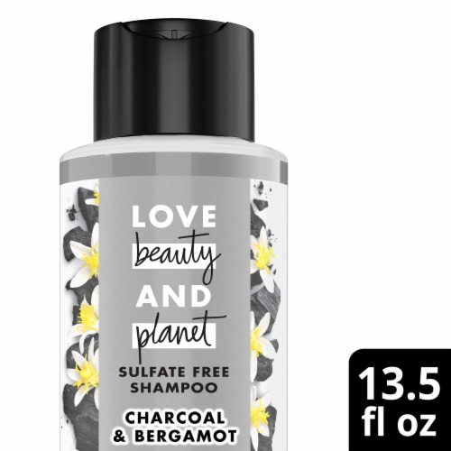 Love Beauty and Planet Sulfate & Silicone-Free Charcoal & Bergamot Vegan Shampoo Perspective: front