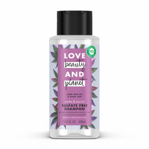Love Beauty and Planet Hemp Seed Oil and Nana Leaf Shampoo Perspective: front