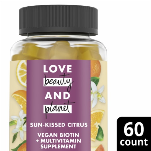 Love Beauty and Planet Vegan Hair & Skin Dietary Supplement - Citrus Crush Perspective: front