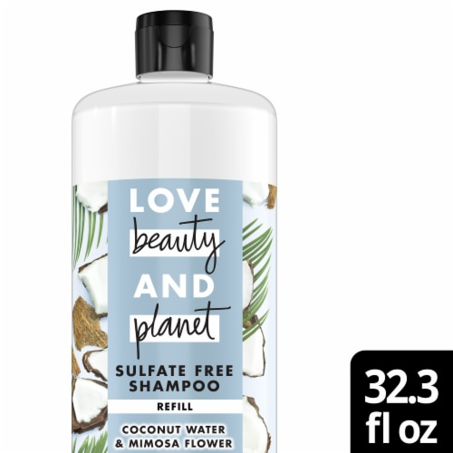 Love Beauty & Planet Sulfate-Free Coconut Water & Mimosa Flower Shampoo Perspective: front