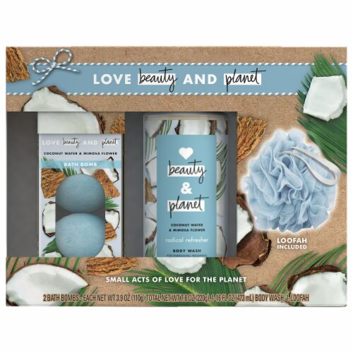 Love Beauty and Planet Coconut Water & Mimosa Flower Body Wash and Bath Bombs Perspective: front