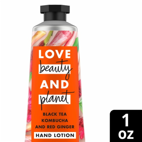 Love Beauty and Planet Black Tea Kombucha and Red Ginger Hand Lotion Perspective: front