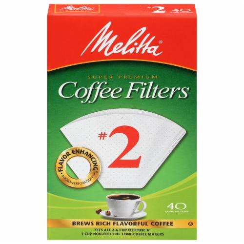Melitta #2 Super Premium Paper Cone Coffee Filters - White Perspective: front
