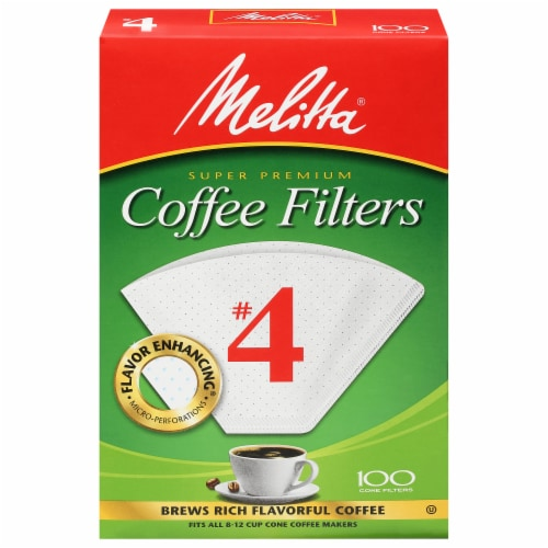 Melitta #4 Cone White Paper Coffee Filters Perspective: front