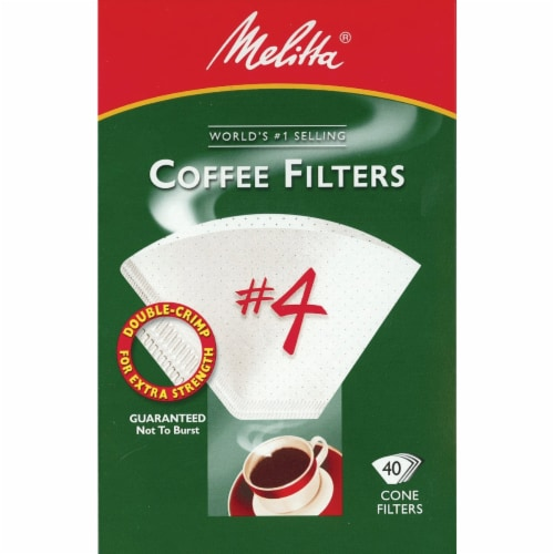Melitta #4 Cone Coffee Filters - White Perspective: front