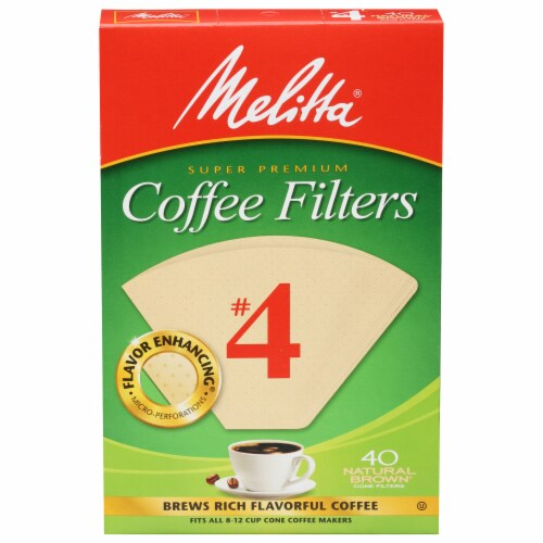 Melitta #4 Paper Cone Coffee Filters - Natural Brown Perspective: front