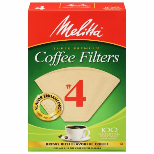 Melitta #4 Cone Coffee Filters - Natural Brown Perspective: front