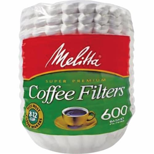 Melitta MLA631132 Super Premium Basket-Style Coffee Filter - White, 600 Count Perspective: front