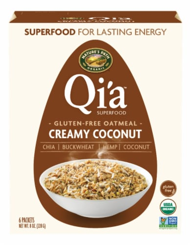 Nature's Path Qi'a Gluten Free Creamy Coconut Oatmeal Packets 6 Count Perspective: front
