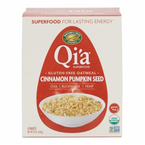 Nature's Path Organic Gluten-Free Qi'a Superfood Cinnamon Pumpkin Seed Oatmeal Perspective: front