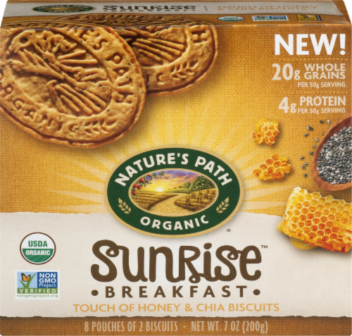 Nature's Path Organic Sunrise Honey & Chia Breakfast Biscuits Perspective: front