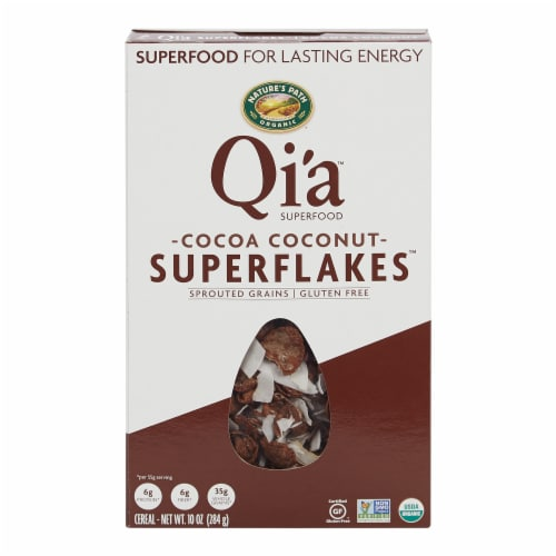 Nature's Path Organic Qi'a Cocoa Coconut Superflakes Cereal Perspective: front