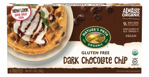 Nature's Path Organic Gluten Free Dark Chocolate Chip Waffles 6 Count Perspective: front