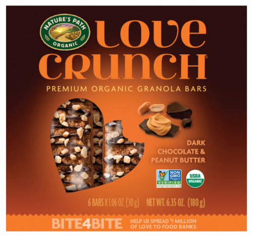 Nature's Path Organic Love Crunch Dark Chocolate and Peanut Butter Granola Bars 6 Count Perspective: front
