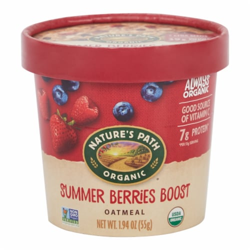 Nature's Path Organic Summer Berries Boost Oatmeal Cup Perspective: front