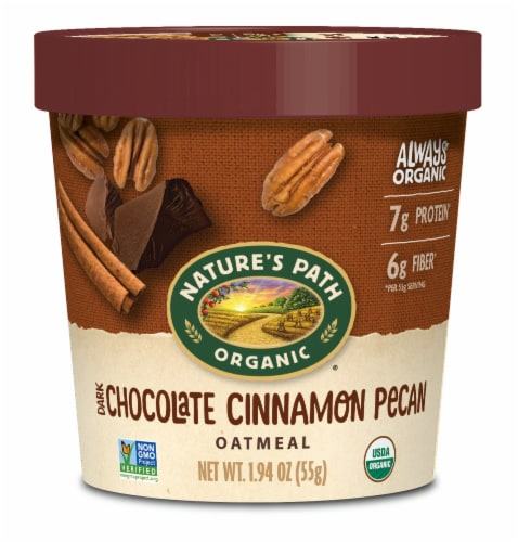 Nature's Path Organic Chocolate Cinnamon Pecan Oatmeal Cup Perspective: front
