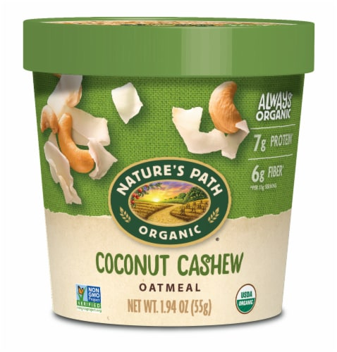 Nature's Path Organic Coconut Cashew Oatmeal Cup Perspective: front