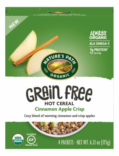 Nature's Path Organic Grain Free Cinnamon Apple Crisp Hot Cereal Packets 4 Count Perspective: front