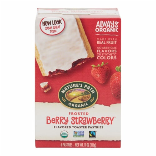 Nature's Path Organic Berry Strawberry Frosted Toaster Pastries Perspective: front