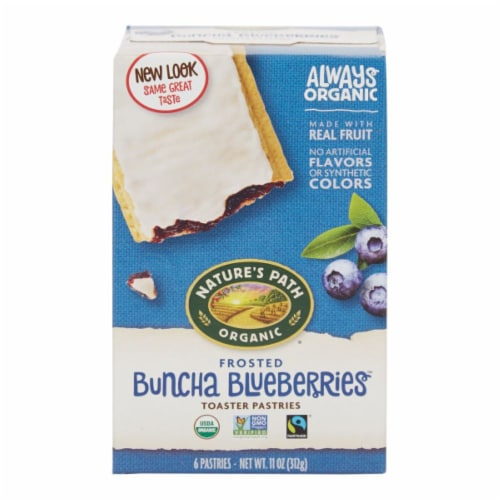 Nature's Path Organic Frosted Buncha Blueberries Toaster Pastries Perspective: front