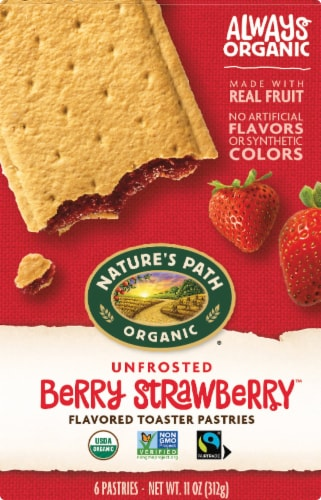 Nature's Path Organic Unfrosted Berry Strawberry Toaster Pastries Perspective: front