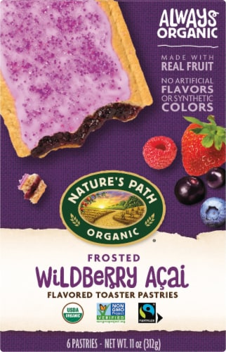 Nature's Path Organic Frosted Wildberry Acai Toaster Pastries Perspective: front