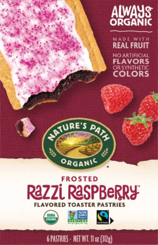 Nature's Path Organic Frosted Razzi Raspberry Toaster Pastries Perspective: front