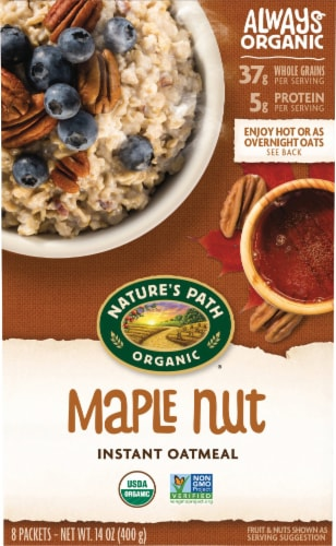 Nature's Path Organic Maple Nut Instant Oatmeal Perspective: front