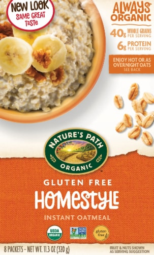 Nature's Path Organic Gluten Free Homestyle Instant Oatmeal (8 Pack) Perspective: front