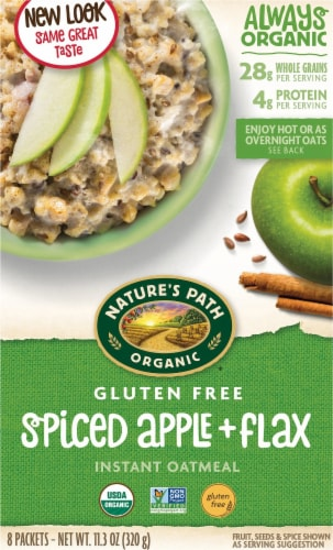Nature's Path Organic Gluten Free Spiced Apple & Flax Instant Oatmeal Perspective: front