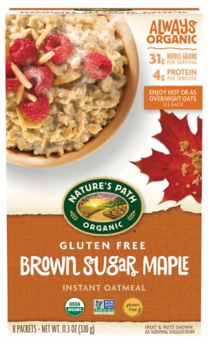 Nature's Path Gluten Free Brown Sugar Maple Instant Oatmeal 8 Count Perspective: front