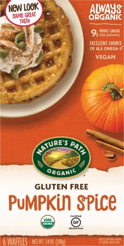 Nature's Path Gluten Free Pumpkin Spice Waffles 6 Count Perspective: front