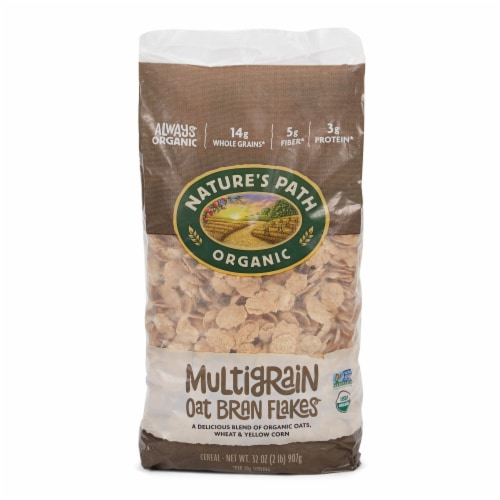 Nature's Path Organic Multigrain Oat Bran Flakes Cereal Perspective: front