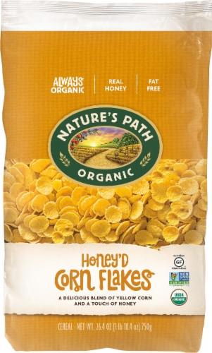 Nature's Path Organic Honey'd Corn Flakes Cereal Perspective: front