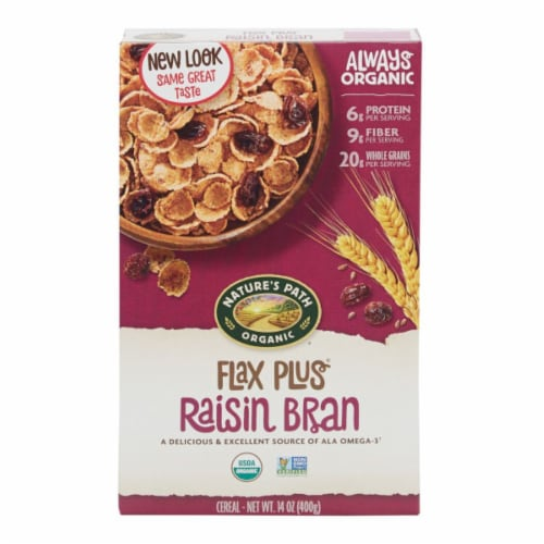 Nature's Path Organic Flax Plus Raisin Bran Cereal Perspective: front